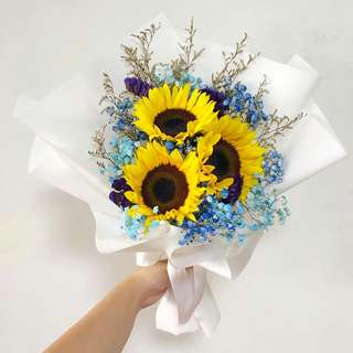 Sunflower Bouquet with Blue Baby Breath