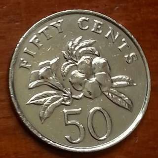 Mint error ,1988 floral (ribbon upwards) 50c coin 1pcs.
