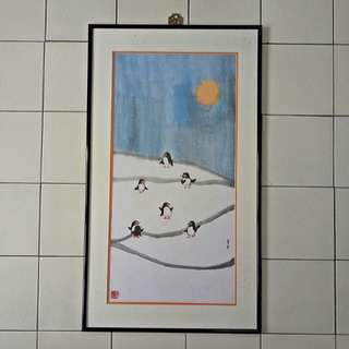 Painting Seven penguin in Snow with frame size 83x47cm