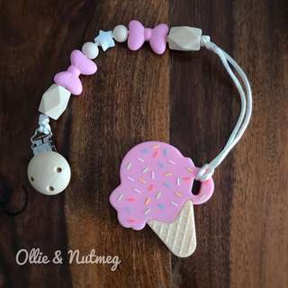 Customised Pacifier Clip with Silicone Teether