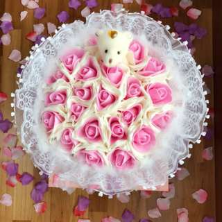 Pink Bear Happy Valentines Day Flower Bouquet
