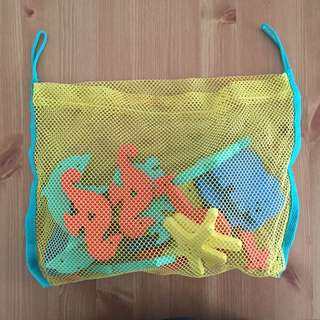 Foam Letters & Animals in Net Bag