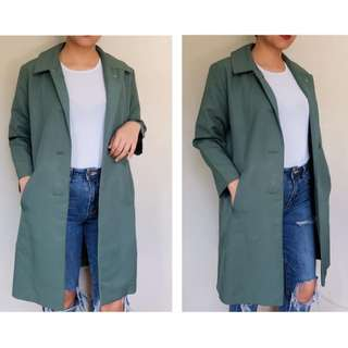 Green korean trench coat