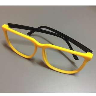 黃框無鏡片玩味眼鏡