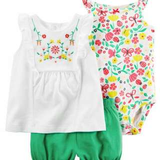 *18M Brand New Instock Carter's 3 Pc Bubble Shorts Set Girls Onesies Rompers Bodysuits