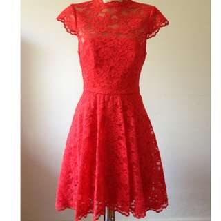 [NEGOTIABLE] Forever New Red Lace Skater Dress + FREE shoes