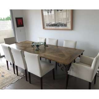Oak Dining Room Table with Westbury linen chairs (8)