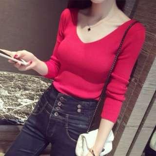 83704 Stylish Slim Long-sleeved V-neck Shirt