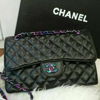 Chanel Jumbo with Rainbow Hardware Black