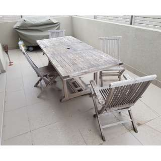 Outdoor Table with 2 + 2 chairs and bench recliners and cushions