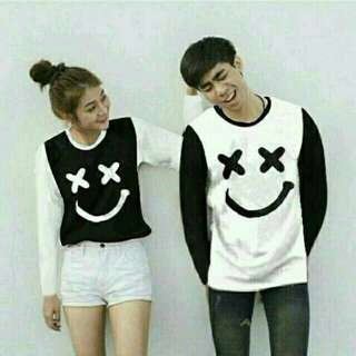 Kaos Couple / Baju Couple / Kaos Pasangan / Baju Pasangan Xoxo Smile LP Hitam
