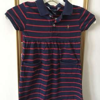 AUTHENTIC RALPH LAUREN RED STRIPED DRESS 3T