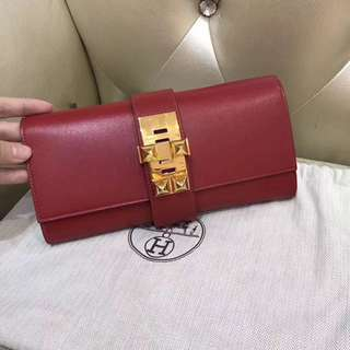 Hermes medor clutch bag red with gold hardware