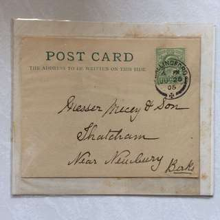 Vintage / Old Postcard - UK / Great Britain Post Card with stamp chop dated Year 1906 (rare)
