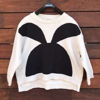 Girls bunny loose knitted jumper size 3-4