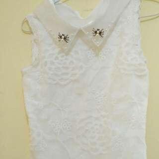Baju putih tnp lengan