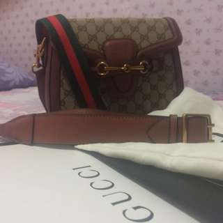 Gucci lady web leather trimmed coated canvas large