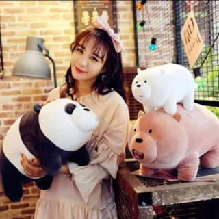 We Bare Bear Standing 35cm (Length) (All 3 - Grizzly, Ice Bear and Pan Pan)