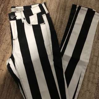 Top shop black and white pants