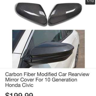 Carbon fiber rearview mirror cover for ten generations Civic