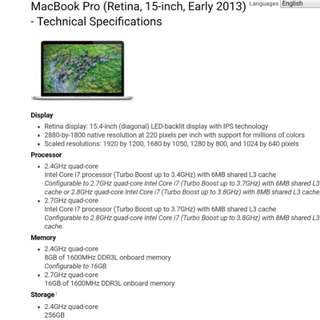 Macbook Pro Retina 15.4 Early 2013 i7 High end version