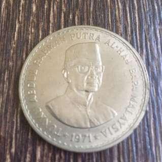 5 Ringgit 1971 Tunku Abdul Rahman Putera Al-Haj Bapa Malaysia Old Coin