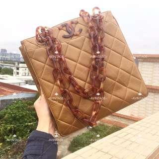 (SOLD)Chanel Vintage 駱駝色玳瑁羊皮 Tote Bag