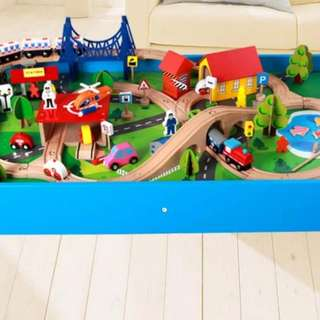 Wooden Train Track Table for Kids