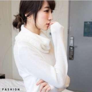 鬆糕白色針織毛衣(含運)