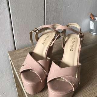 Patent blush pink wedges
