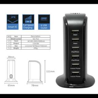 8A 6-Ports Multi USB Port Charging Tower - $15