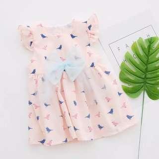 Pink dress with little bird