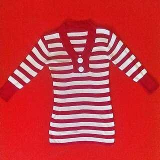 Red White Stripe Blouse