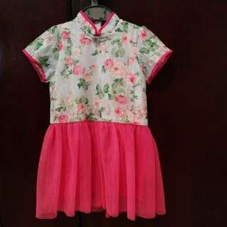 Cheongsam collar dress with organza skirt