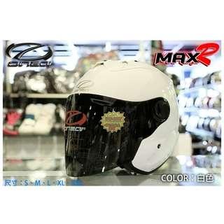 ☆宥鈞機車騎士精品☆ ONZA MAX-R R帽 亮面白色 素色系列現在購買就送原廠鏡片喲