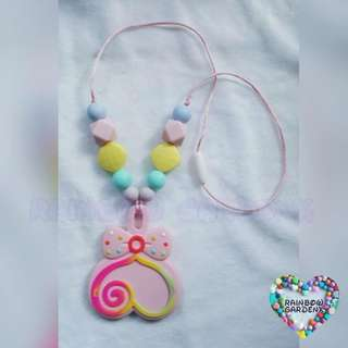 Pink Lollipop with Pastel beads Necklace