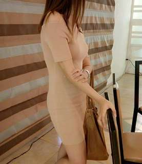 Nude brown fitted dress