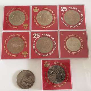 Singapore $5 1980s commemorative coins (8 pcs)