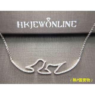 18K 白金 鑽石 和平鴿子 頸鍊 (16+1吋)