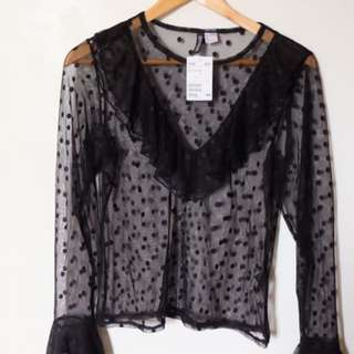 Brand new Cotton on Black Lace Top