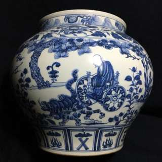 Yuen Dynasty B n W jar decorated with historical human characters 鬼谷子下山故事,28cm High x30 cm diameter wide. Genuine n authentic Yuen Era fine art. Offer above S$150000 secured. Neg.