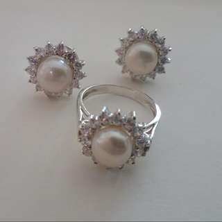 Ring & Earrings Silver With Fresh Water Pearls & CZ