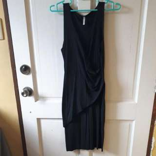 Deep V-neck Black Dress