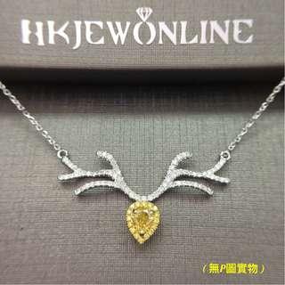 18K 白金 黃鑽 馴鹿 頸鍊 (15.5+2吋)