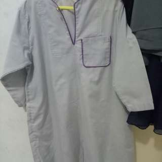 Grey jubah with purple lining