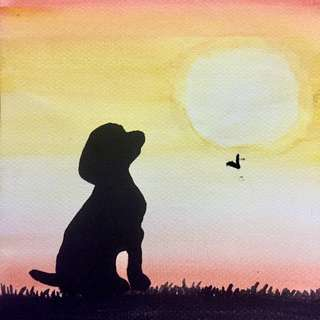 Dog sunset Silhoutte Watercolor Painting