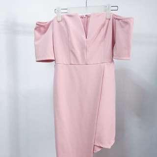 Mustard Seed Blush Pink Off shoulder Semi-Formal Dress