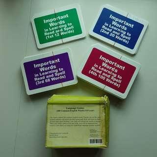 Language Genius Flash Cards (200 Common English Words) 0-8 years