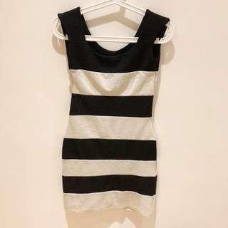 條紋彈性洋裝
