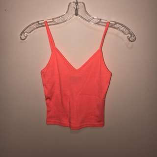 Coral/Hot Pink Cropped Tank top